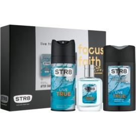 STR8 Live True Geschenkset VI.  After Shave Water 50 ml + Deo-Spray 150 ml + Duschgel 250 ml