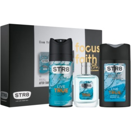 STR8 Live True zestaw upominkowy VI.  woda po goleniu 50 ml + dezodorant w sprayu 150 ml + żel pod prysznic 250 ml