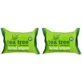 Tea Tree Facial Wipes tisztító törlőkendő az arcra  2x 25 db