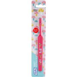 TePe Mini Escova de dentes para crianças com cabeça pequena em formato de cone extra suave Pink (0 - 3 Years, Small Toothbrush with Tapered Brush Head)
