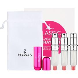 Travalo Classic HD ajándékszett II. Hot Pink szórófejes parfüm utántöltő palack 3 x 5 ml + szarvasbőr tok