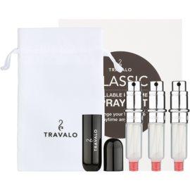 Travalo Classic HD ajándékszett III. Black szórófejes parfüm utántöltő palack 3 x 5 ml + szarvasbőr tok