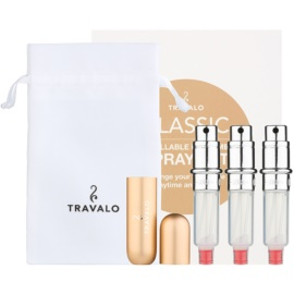 Travalo Classic HD ajándékszett IV. Gold szórófejes parfüm utántöltő palack 3 x 5 ml + szarvasbőr tok