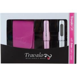 Travalo Excel ajándékszett  szórófejes parfüm utántöltő palack 2 x 5 ml + tok 6,5 x 8,5 cm