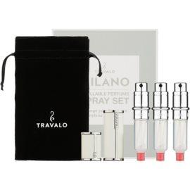 Travalo Milano ajándékszett II. White szórófejes parfüm utántöltő palack 3 x 5 ml + szarvasbőr tok