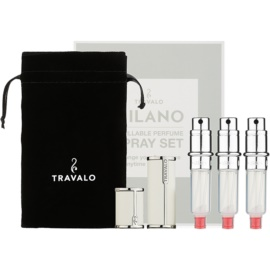 Travalo Milano dárková sada II. White plnitelný rozprašovač parfémů 3 x 5 ml + semišový váček