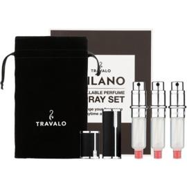 Travalo Milano ajándékszett III. Black szórófejes parfüm utántöltő palack 3 x 5 ml + szarvasbőr tok