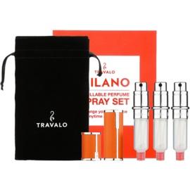 Travalo Milano dárková sada IV. Orange plnitelný rozprašovač parfémů 3 x 5 ml + semišový váček