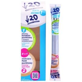 Under Twenty ANTI! ACNE korektor proti nedokonalostem pleti s antibakteriálním účinkem 2 v 1  2 x 7,5 ml