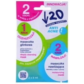 Under Twenty ANTI! ACNE čistilna in vlažilna maska za problematično kožo, akne  2 x 6 ml