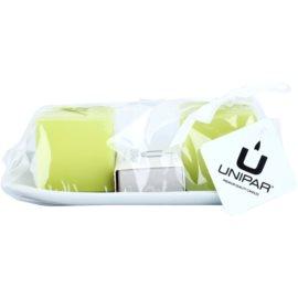Unipar Meadow Light Green dárková sada III. svíčka 64 g + svíčka 64 g + keramický tácek 1 ks + zápalky