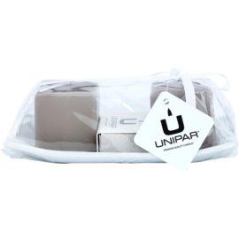 Unipar Meadow Light Brown dárková sada II. svíčka 64 g + svíčka 64 g + keramický tácek 1 ks + zápalky
