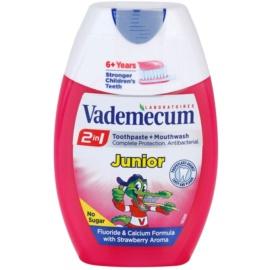 Vademecum 2 in1 Junior зубна паста + рідина для полоскання порожнини рота в одному присмак Strawberry 75 мл
