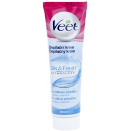 Veet Depilatory Cream Depilationscreme für die Beine für empfindliche Oberhaut Aloe Vera mit Vitamin E  100 ml