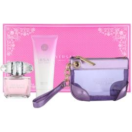 Versace Bright Crystal dárková sada  toaletní voda 90 ml + tělové mléko 100 ml + kosmetická taška 24 x 5 x 15 cm