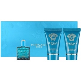 Versace Eros zestaw upominkowy tester dla mężczyzn 3 szt.  woda toaletowa 5 ml + żel pod prysznic 25 ml + balsam po goleniu 25 ml