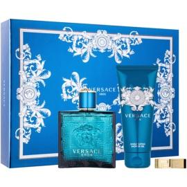 Versace Eros dárková sada XIV.  toaletní voda 100 ml + sprchový gel 100 ml + spona na peníze
