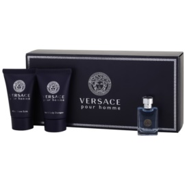 Versace pour Homme dárková sada IX. toaletní voda 5 ml + šampon 25 ml + balzám po holení 25 ml