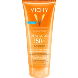 Vichy Idéal Soleil ултра-топящ млечен гел за влажна и суха кожа SPF 50  200 мл.