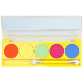 W7 Cosmetics Neon Eyes paleta očních stínů se zrcátkem a aplikátorem odstín Yellow 5 x 1,5 g