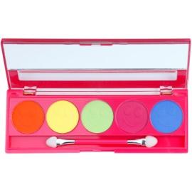 W7 Cosmetics Neon Eyes paleta očních stínů se zrcátkem a aplikátorem odstín Pink 5 x 1,5 g