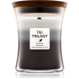 Woodwick Trilogy Warm Woods ароматна свещ  275 гр. с дървен фитил