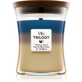 Woodwick Trilogy Nautical Escape dišeča sveča  275 g z lesenim stenjem