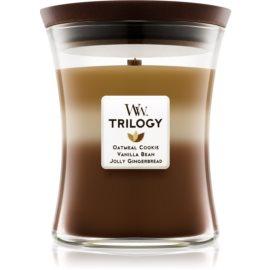 Woodwick Trilogy Spiced Confections dišeča sveča  275 g srednja