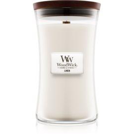 Woodwick Linen dišeča sveča  609,5 g z lesenim stenjem