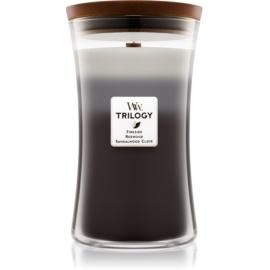 Woodwick Trilogy Warm Woods ароматна свещ  609,5 гр. с дървен фитил