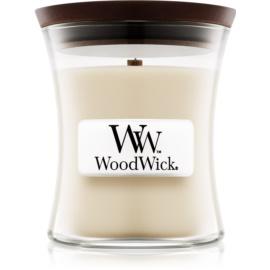 Woodwick Linen dišeča sveča  85 g z lesenim stenjem