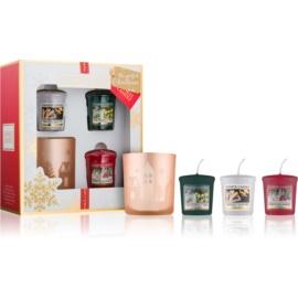 Yankee Candle The Perfect Christmas dárková sada IV.  votivní svíčka 3 x 49 g + svícen na votivní svíčku