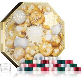Yankee Candle Holiday Sparkle darilni set adventní kalendář I. čajna sveča 24 x  + svečnik za čajno svečo