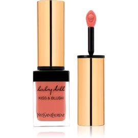 Yves Saint Laurent Baby Doll Kiss & Blush šminka za ustnice in lička z mat učinkom odtenek 7 Corail Affranchi  10 ml