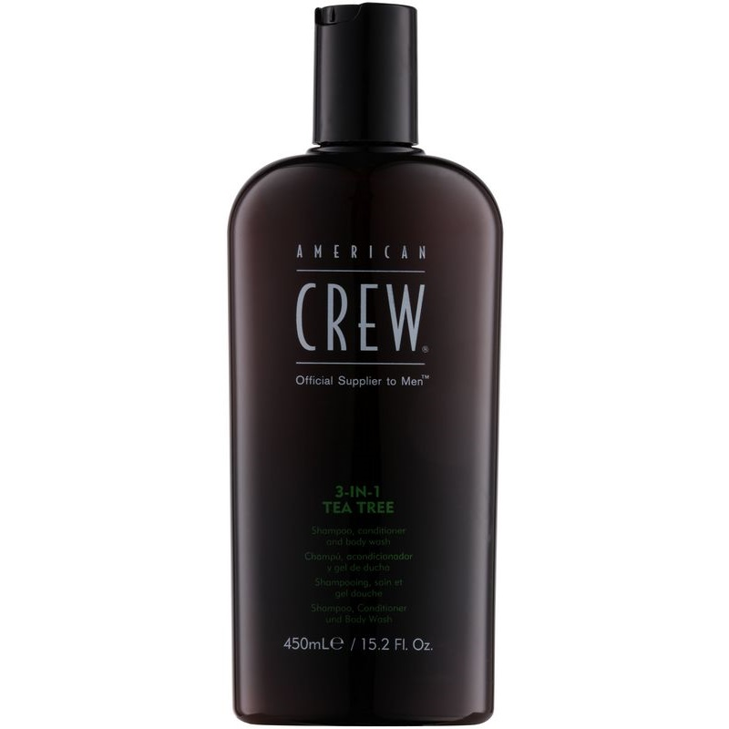 american crew tea tree shampoing apr s shampoing et gel douche 3 en 1 pour homme. Black Bedroom Furniture Sets. Home Design Ideas