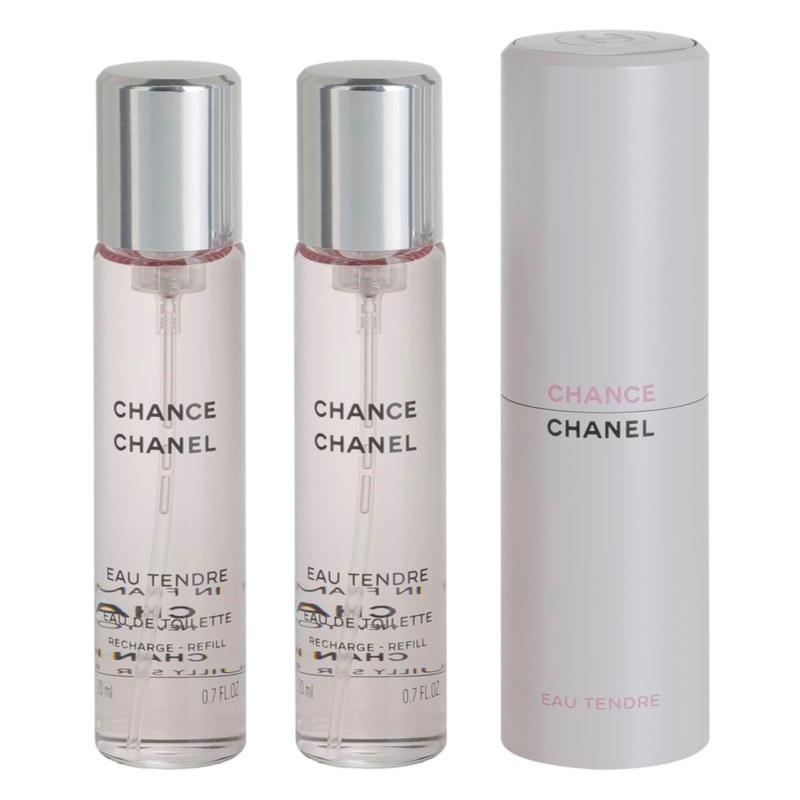 chanel chance eau tendre eau de toilette pour femme 3 x 20 ml 1x rechargeable 2x recharge. Black Bedroom Furniture Sets. Home Design Ideas