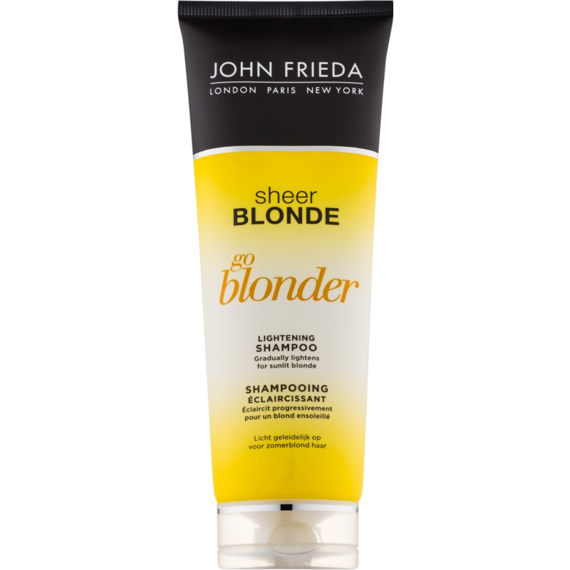 john frieda sheer blonde go blonder shampoing claircissant pour cheveux blonds. Black Bedroom Furniture Sets. Home Design Ideas