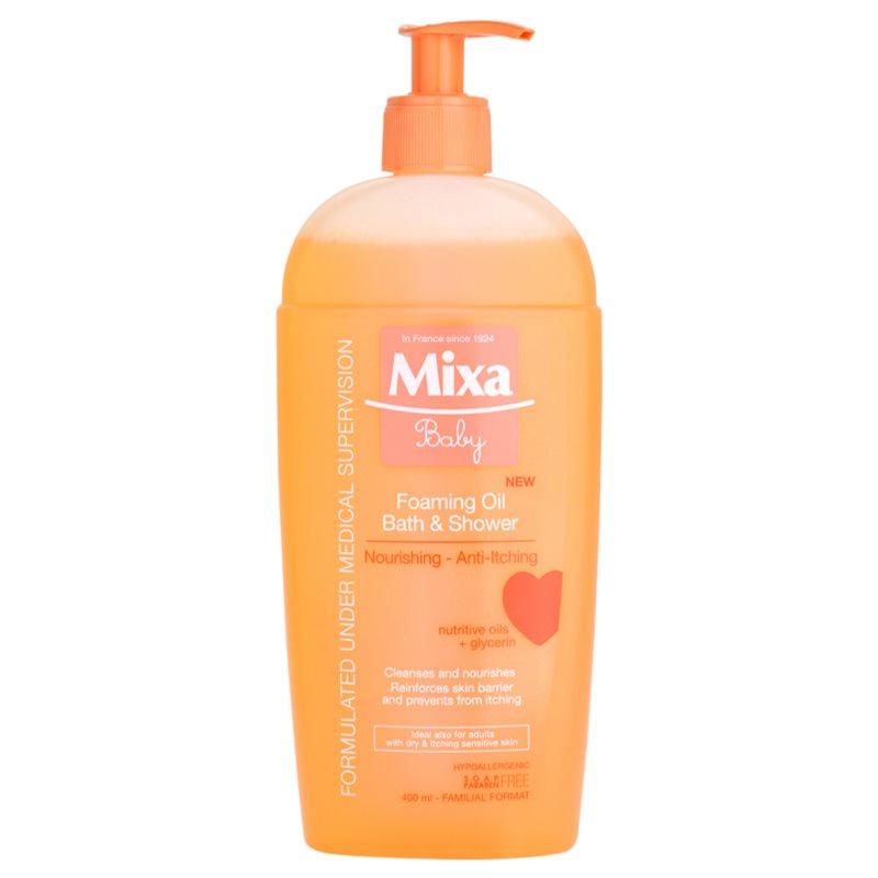 Mixa baby olio in schiuma per bagno e doccia for Bagno d olio