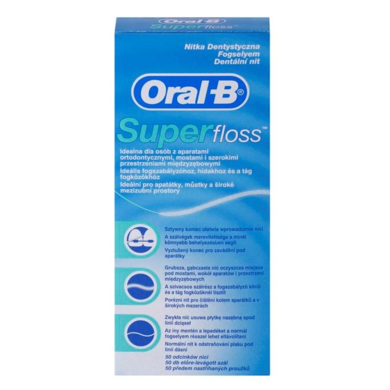 oral b super floss fil dentaire pour appareils dentaires et implants. Black Bedroom Furniture Sets. Home Design Ideas