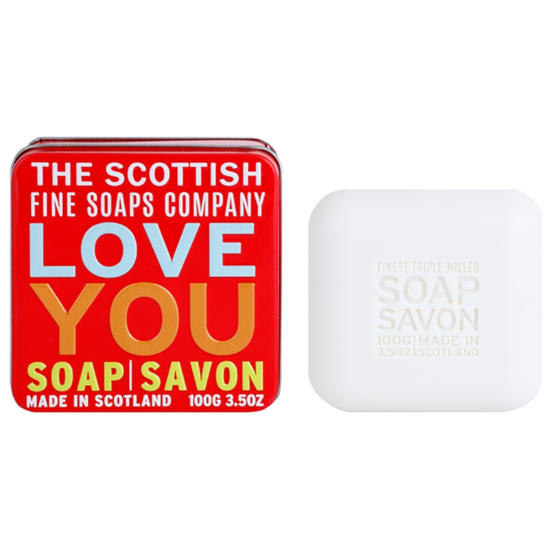 scottish fine soaps love you bar soap in a tin container. Black Bedroom Furniture Sets. Home Design Ideas