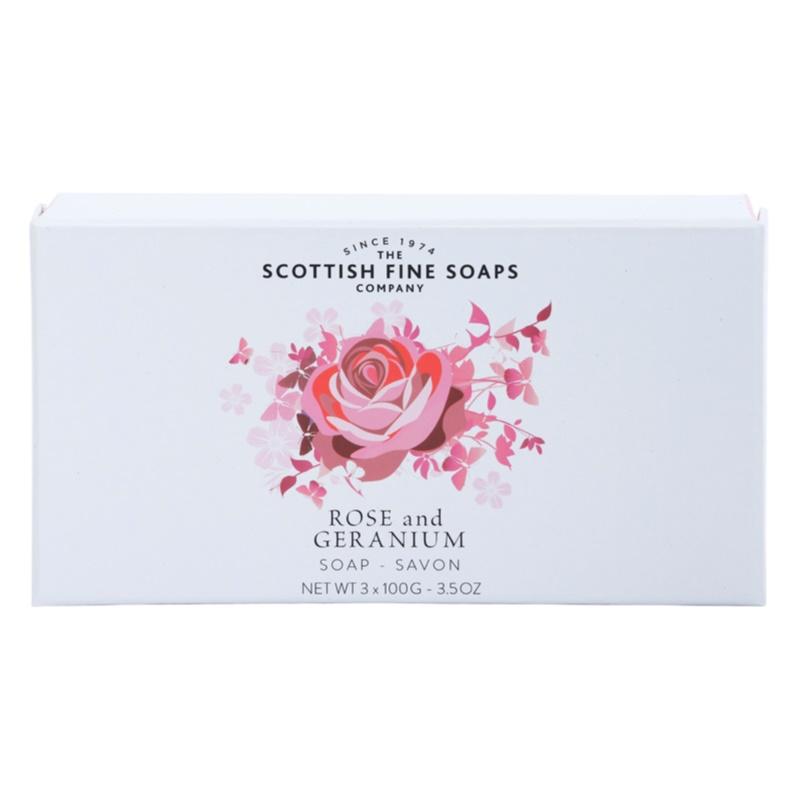 scottish fine soaps rose and geranium perfumed soap for women 3 x 100 g. Black Bedroom Furniture Sets. Home Design Ideas