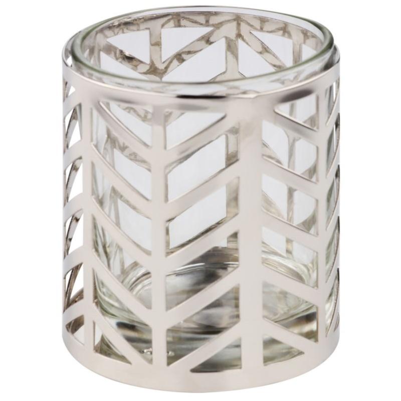 Yankee candle arrow chrome porte bougie votive en verre for Porte bougie en verre