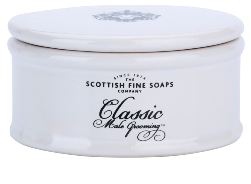 scottish fine soaps classic male grooming shaving soap for men 100 g in a porcelain box. Black Bedroom Furniture Sets. Home Design Ideas